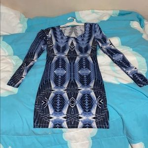 Blue designed, tight formal dress.